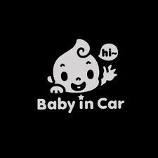 "1Pc ""Baby In Car"" Waving Baby on Board Safety Sign Cute Car PET Decal Sticker"
