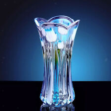Vintage Style Tulip Glass Flower Vase Decoration Home Wedding Decor Blue