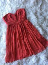 BCBG MaxAzria Size 2 Coral Pink Strapless Dress 100% Silk Beaded Empire Waist