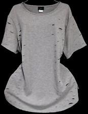 Rue+ gray round neck plus size cuts detail stretch sweat top 2X