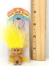 "Good Luck Troll Key Chain 2"" Russ Troll Doll Yellow Hair Keyring Vtg"
