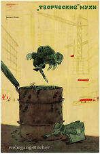 UDSSR Propaganda Plakat, ТВОРЧЕСКИЕ МУХИ, Kreative Fliegen, um 1960