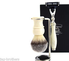 Shaving Gift Set For Men(Synthetic Hair Brush Gillette Mach 3 Razor Steel Stand)