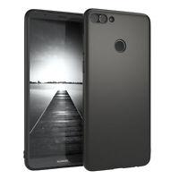 Für Huawei Y9 2018 Hülle Soft Case Silikon Cover Schutz Tasche Slim Matt Schwarz