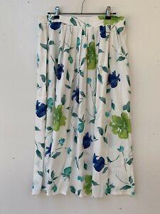 NOW women's retro vintage maxi white floral viscose skirt size 14 Aust. made