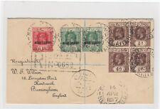 Fiji- War stamps on registered cover to Birmingham 14/4/1917