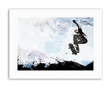 SKATEBOARDING GRUNGE VECTOR SILHOUETTE Poster Picture Canvas art Prints