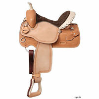 Western Natural Leather Hand Carved Barrel Racer Saddle with Rawhide Cantel 16""