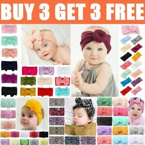 Baby Girls Bow Headbands Infant Toddler Turban Knot Hair Head Band Bows Wrap