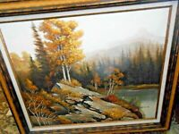 Vintage Landscape Forest River Scene Oil Painting on Canvas Signed Ballows