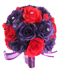 17 piece package Wedding Bouquet Bridal Silk Flowers PURPLE PLUM RED centerpiece