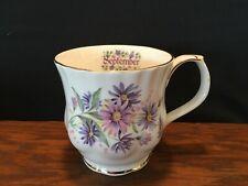 1983 Enesco Monthly Flower September Mug Tea Cup with Purple Aster Flowers