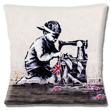 """Banksy Art Cushion Cover 16""""x16"""" 40cm 'Child Labour' Boy Sewing UK Flag Bunting"""