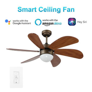 "38"" Small Flower Blossom SMART Ceiling Fan + Remote, Unique Modern Pendant Light"