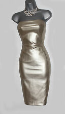 Karen Millen Gold Faux Leather Strapless Bodycon Party Cocktail Dress UK 10  38