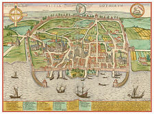 Visby Gotland Sweden bird's-eye view map Hogenberg ca.1598