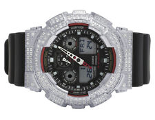 Mens Casio G-Shock GA-100-1A4DR Digital 51MM White Simulated Diamond Watch 6 Ct
