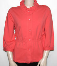 NEW Motto PLUX 1X CORAL 3/4 Sleeve Button Front Knit Jacket w/ TopstitchDetail