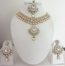 Indian Bollywood Traditional White Kundan Gold Tone Choker Fashion Jewellery Set