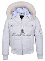 Mens White Hooded Bomber Jacket Puffer 100% Real Classic Leather Pilot 6 Puffer