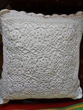 Kissenhülle 40x40cm, weiß,100% Baumwolle, florales Muster, gehäkelt