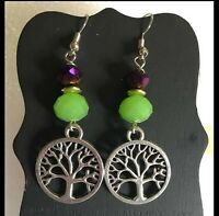 TREE OF LIFE Wire Earrings Fashion Jewelry Pair - US Handmade