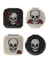 Skull and Rose Design Compact Cosmetic Mirror Pocket Handbag Stocking Filler