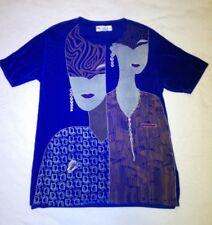Design Shirt-Bluse, kobaltblau, dehnbar, strukturiert, feine Applikationen NEU