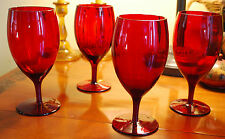 Vintage LOVELY Set 4 RUBY RED OPTIC GLASS Footed Wine Goblets/Glasses HAND BLOWN