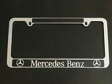 NEW Stainless Steel For Mercedes-Benz License Plate Frame Cover Carbon Fiber Cap