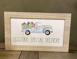 "Rae Dunn - EGGSTRA SPECIAL DELIVERY - Wood Standup Sign - 11.5""L x 7""H x 2""D"