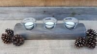 Rustic Tealight Candle Holder Log Barn Christmas Wedding Glass Votive Table