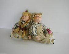 Twin Boy n Girl Sitting Porcelain Soft Body Dolls By T.S. Creations Tan Outfits