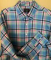 UNTUCKIT Mens SLIM FIT Blue Pink Red Plaid Collar Shirt Medium M Button Down L/S