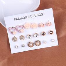 9 Pair Set Women Gold Tone Rose Love Pearl Crystal Heart Earring Ear Stud Set