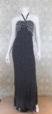 Hale Bob Gray Silver Metallic Knit Halter Long Maxi Casual Party Dress L