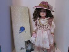 "MENIE PORCELAIN DOLL ""JULIE"" 22"" TALL VICTORIAN DRESS BROWN CURLED HAIR LotC"