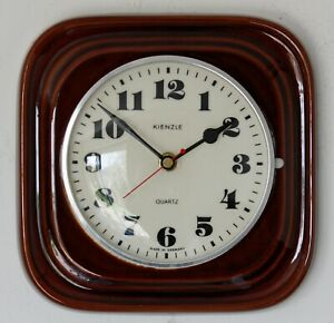 Vintage 21cm Kienzle Wall Clock - Ceramic Retro Atomic Mid Century Brown German