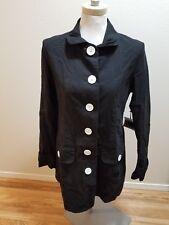 NEW BB Dakota Black Women's Long Trench Coat Military HUGE Buttons Nordstrom L