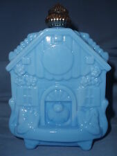Vintage Blue Milk Glass House/Cottage Collectible Cologne Bottle Decanter