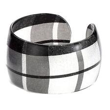 Black and White Tartan Wide Wrist Cuff Bangle - Scottish Bracelet Joe Cool