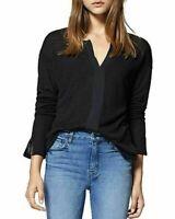NEW!!! Sanctuary Women's Split Neck Contrast Long Sleeve Top (Black, Sz: XS)