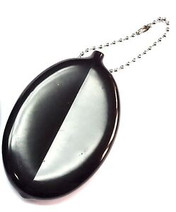 10 squeeze Coin Holder keychain black color money change purse OVAL Party Favor