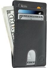 Leather Slim Minimalist Front Pocket Cardholder Wallets For Men RFID Blocking