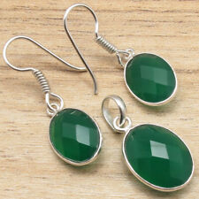 Birthstone !! 925 Silver Plated Facetted GREEN ONYX Earrings & Pendant SET