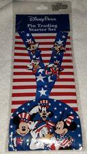Disney Pin Trading Starter Set Lanyard Patriotic American Flag Mickey Goofy ++