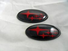 NEW Red / Gloss Black Front & Rear Subaru™ WRX /Sti Emblems / Badges Free Ship