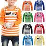 Kinder Jungen Mädchen Mickey T-Shirt Tops Langarm Gestreift Tee Shirt Oberteile