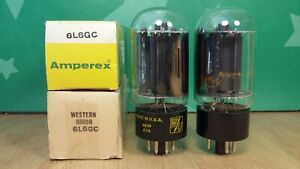 Closely Matched Pair of RCA 6L6GC NOS NIB Black Plate 1960s Vacuum Tubes