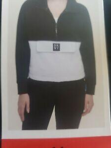 DKNY Ladies 1/2Top Pullover Sport Sweatshirt Cotton Blue White Black NWT Pocket